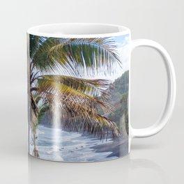 Black Sand Beaches and Palm trees Coffee Mug
