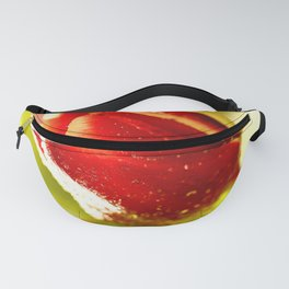 Glowing Red Tulip On A Vivid Green Background #decor #society6 Fanny Pack
