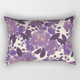 Elegant ivory gold lavender purple watercolor floral  Rectangular Pillow