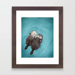 Otterly Romantic - Otters Holding Hands Framed Art Print