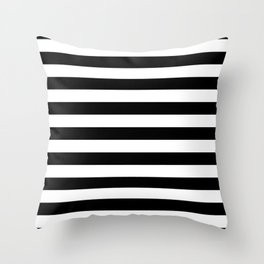 Large Black and White Horizontal Cabana Stripe Throw Pillow
