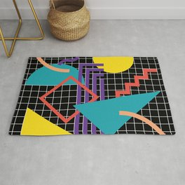 Memphis Pattern - 80s Retro Black Rug
