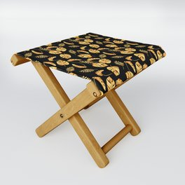 Gold Tropical Leaves Pattern Folding Stool