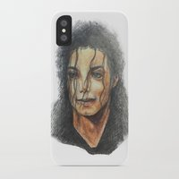 mike wrobel iPhone & iPod Cases featuring Mike by QIQI DRAWS