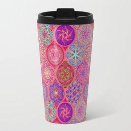 Bohemian Eye Pattern Pink Hand Drawing Travel Mug