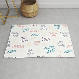 First love: Handdrawn doodle & text pattern Rug