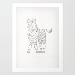 Waterolor Zebra Art Print