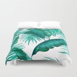 HAWAIIAN GARDEN TROPICAL LEAVES | turquoise white Duvet Cover