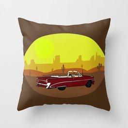 American car in the desert Throw Pillow