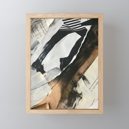 Stay | Collage Series 2 | mixed-media piece in gold, black and white + book pages Framed Mini Art Print