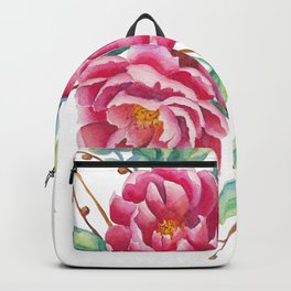 Watercolor flower composition with peonies and branches Backpack