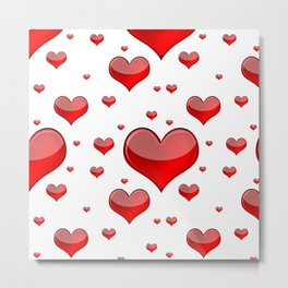 Hearts Red and White Metal Print