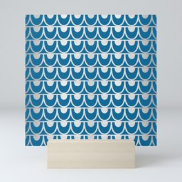 Mid Century Modern Abstract Fish Scale Pattern in Ocean Blue and Silver Mini Art Print