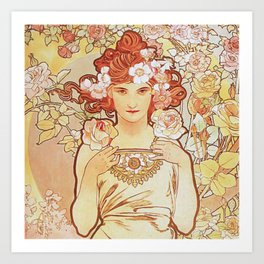 Rose by Alphonse Mucha 1897 // Vintage Girl with Red Hair Floral Love Design Art Print