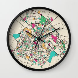 Colorful City Maps: Lexington, Kentucky Wall Clock