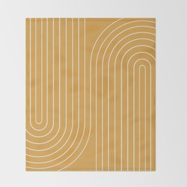 Minimal Line Curvature - Golden Yellow Throw Blanket
