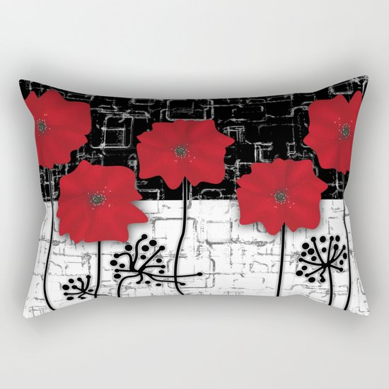 Applique Poppies on black and white background . Rectangular Pillow