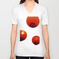 lanterns V-neck T-shirts featuring Matsuri Lanterns by Mauricio Togawa