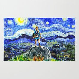 triforce link starry night Rug