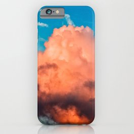 Pink And Dark Purple Cumulus Clouds, Blue Sky. Summer Evening iPhone Case
