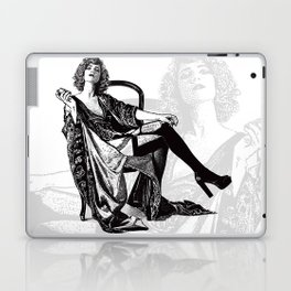 Retro Woman Wearing Vintage Lingerie and Drinking from Flask Laptop & iPad Skin