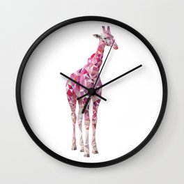 Geometric pink giraffe Wall Clock