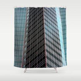 Blue Black Grey Glass Skyscraper Architecture Shower Curtain