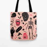rain Tote Bags featuring Whole Lotta Horror by Josh Ln