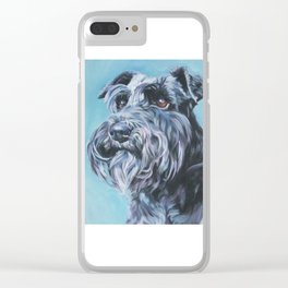 SCHNAUZER dog art portrait from an original painting by L.A.Shepard Clear iPhone Case