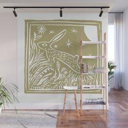 Lino Cut Hare Wall Mural