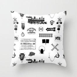 Railroad Symbols on White Throw Pillow