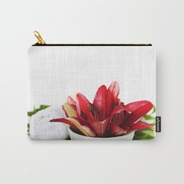 Spa concept (flowers, towel and sea salt). White background Carry-All Pouch