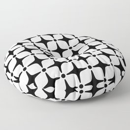 Mid Century Modern Star Pattern Black and White Floor Pillow