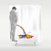 pee wee Shower Curtains featuring Rainbow pee by Ismael Álvarez