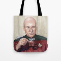 picard Tote Bags featuring Captain Picard Earl Grey Tea | Star Trek Painting by Olechka