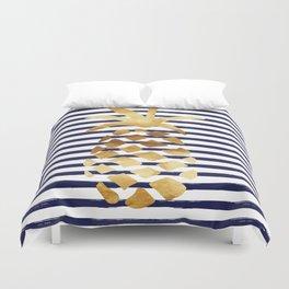 Pineapple & Stripes - Navy / White / Gold Duvet Cover