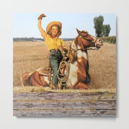 Vintage Western Cowgirl On Horse In Hay Field Metal Print