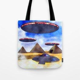 Ancient Aliens - UFO Pyramids Tote Bag