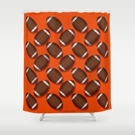Footballs Design on Orange Shower Curtain