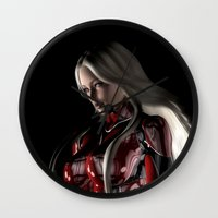 sci fi Wall Clocks featuring Sci-Fi Suit Portrait by Brian Raggatt