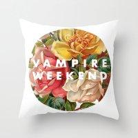 vampire weekend Throw Pillows featuring Vampire Weekend vintage flowers by Van de nacht