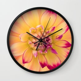 Pink and Yellow Dahlia Wall Clock