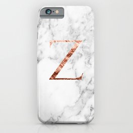 Monogram rose gold marble Z iPhone Case