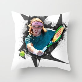 Stefanos Tsitsipas Throw Pillow