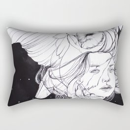 Woman with Owl Familiar Rectangular Pillow