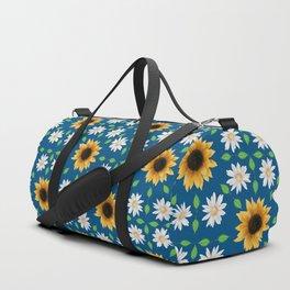 Flower Mandala - Classic Blue Duffle Bag