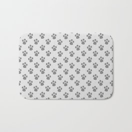 Tiny Paw Prints - Grey on Light Silver Grey Bath Mat