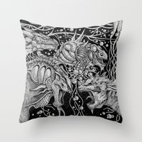 dragons Throw Pillows featuring Dragons by Walid Aziz