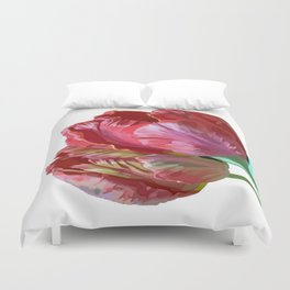 Two Red Tulips Vector Isolated Duvet Cover
