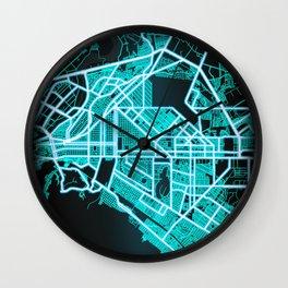 Torreón, Coahuila, Mexico, Blue, White, Neon, Glow, City, Map Wall Clock